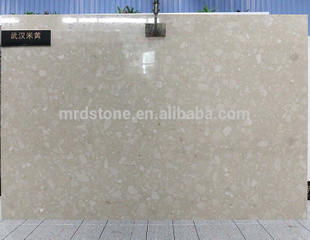 Best Selling Cut-To-Size Solid Surface Crystal Beige Color Artificial Marble