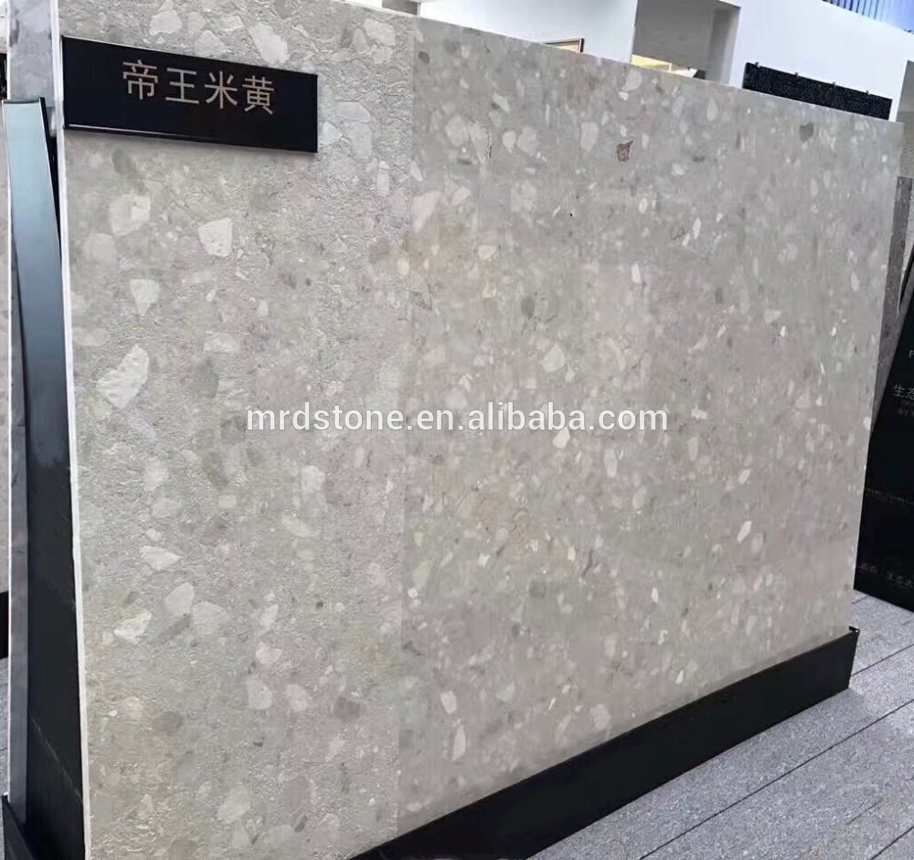 Top quality polished light grey raw material artifical marble for table top