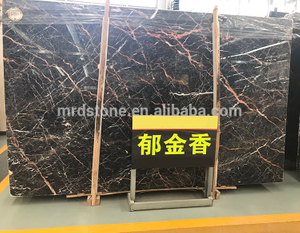 Hot Sale Natural Stone Black And Gold Marble Slab