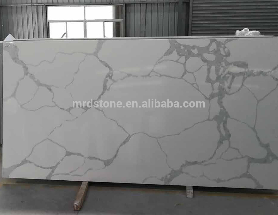 Factory Direct Sale Calacatta White Quartz Slab With Grey Veins