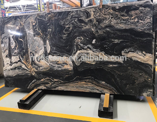 Cheap Polished Natural Golden Rivers Black Marble Slab Price