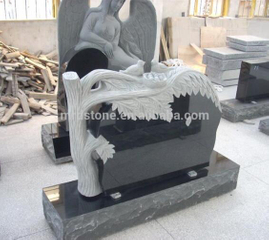 American style Shanxi Black polished granite headstone with Carve