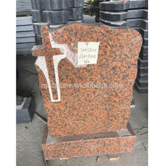 European Style Maple Red G562 Polished Cross Granite Tombstone