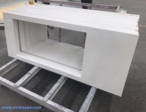 Polished white quartz stone countertop