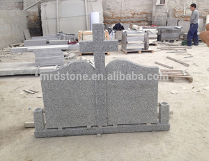 Custom Design Granite G603 Cross Double Headstone For Romania