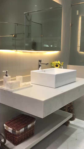 High quality custom design carrara white quartz vanity top stone slab