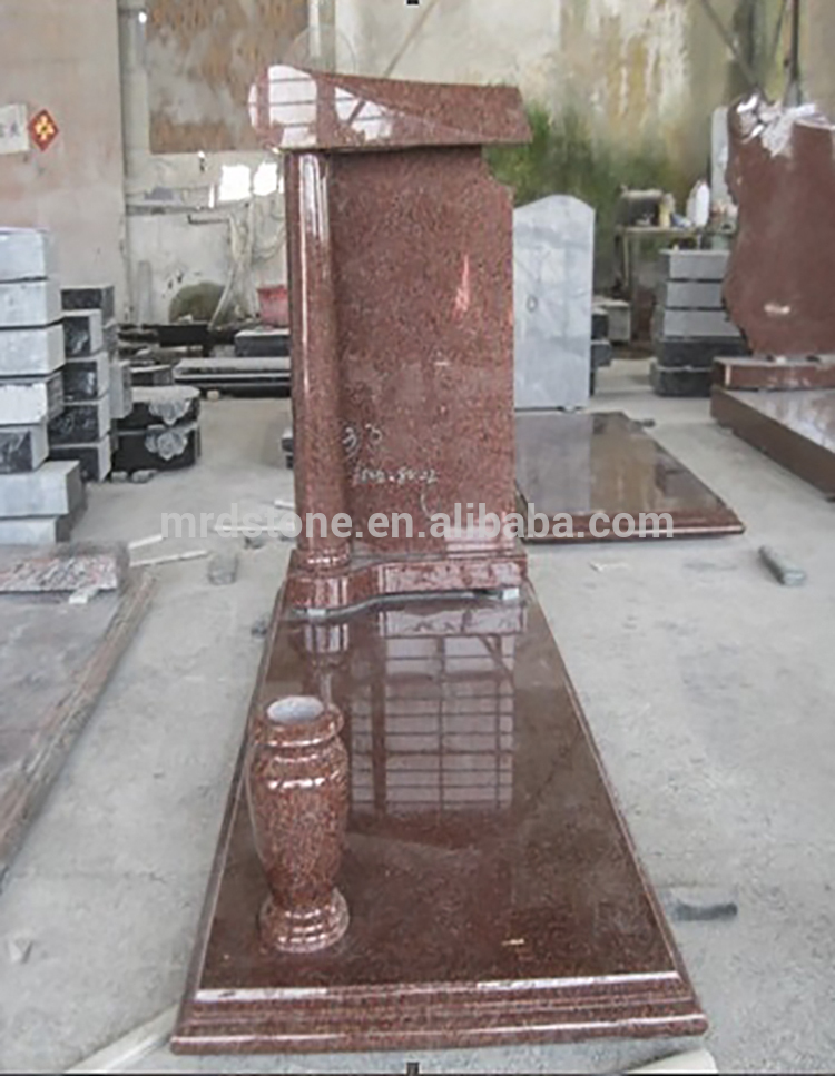 Wholesale Albania Style Headstone Imperial Red Granite Monument