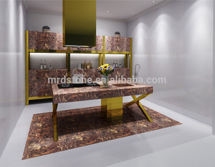 Brown quartz stone tea table and quartz stone slab mirror fleck tiles