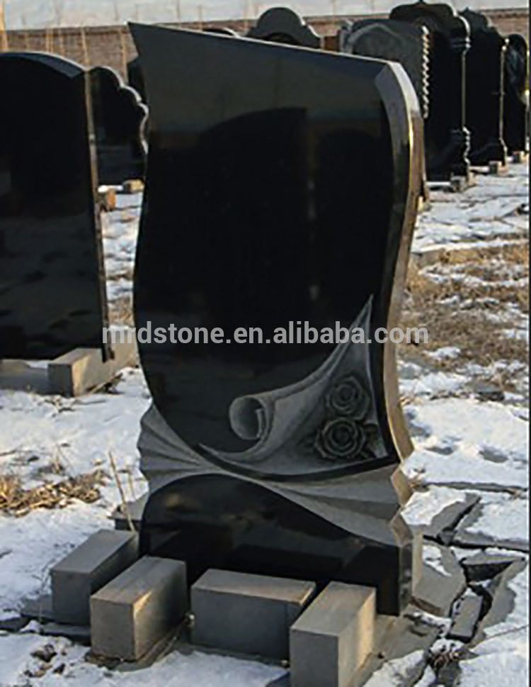 Modern Design Rose Carving Black Granite Carved Flower Headstones