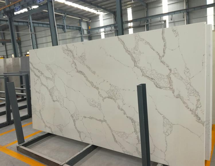 Chinese Factory Direct Sale Polished White Veins Gray Quartz Stone