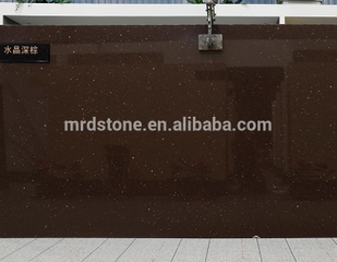Factory Direct CE Approved Sparkle Crysta Brown Quartz Stone