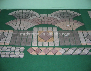 Fan pattern types of interlocking granite cube stone paving stones