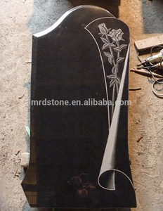 Design Modern Black Granit Carved Rose Flower Headstones For Russia