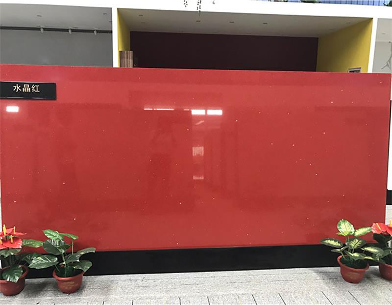ISO9001 Approved Artificial Starlight Sparkle Red Quartz Slab For Kitchen Countertops