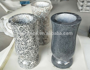 Cheap China Romania Granite Cemetery Vases For Tombstones