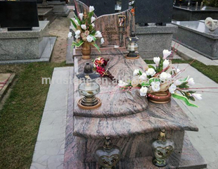 Grave Memorial Juparana India Granite Monument Headstone