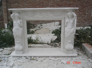 Hand Carved Beige Limestone Fireplace for Antique Style