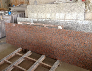 Polished Maple Red Granite Countertop Slab with Customize Size