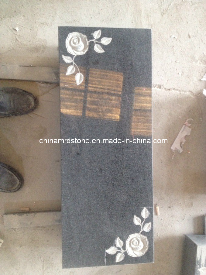 Padang Dark G654 Granite with Flower Carving for Memorial