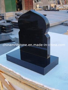 All Polished Shanxi Black Granite Upright Headstone for Russia