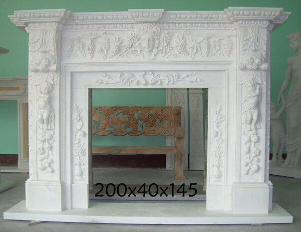 Hand Carved Marble Fire Place for Indoor Decoration