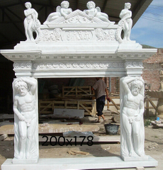 100% Hand Carved Natural White Marble Fireplace Surround